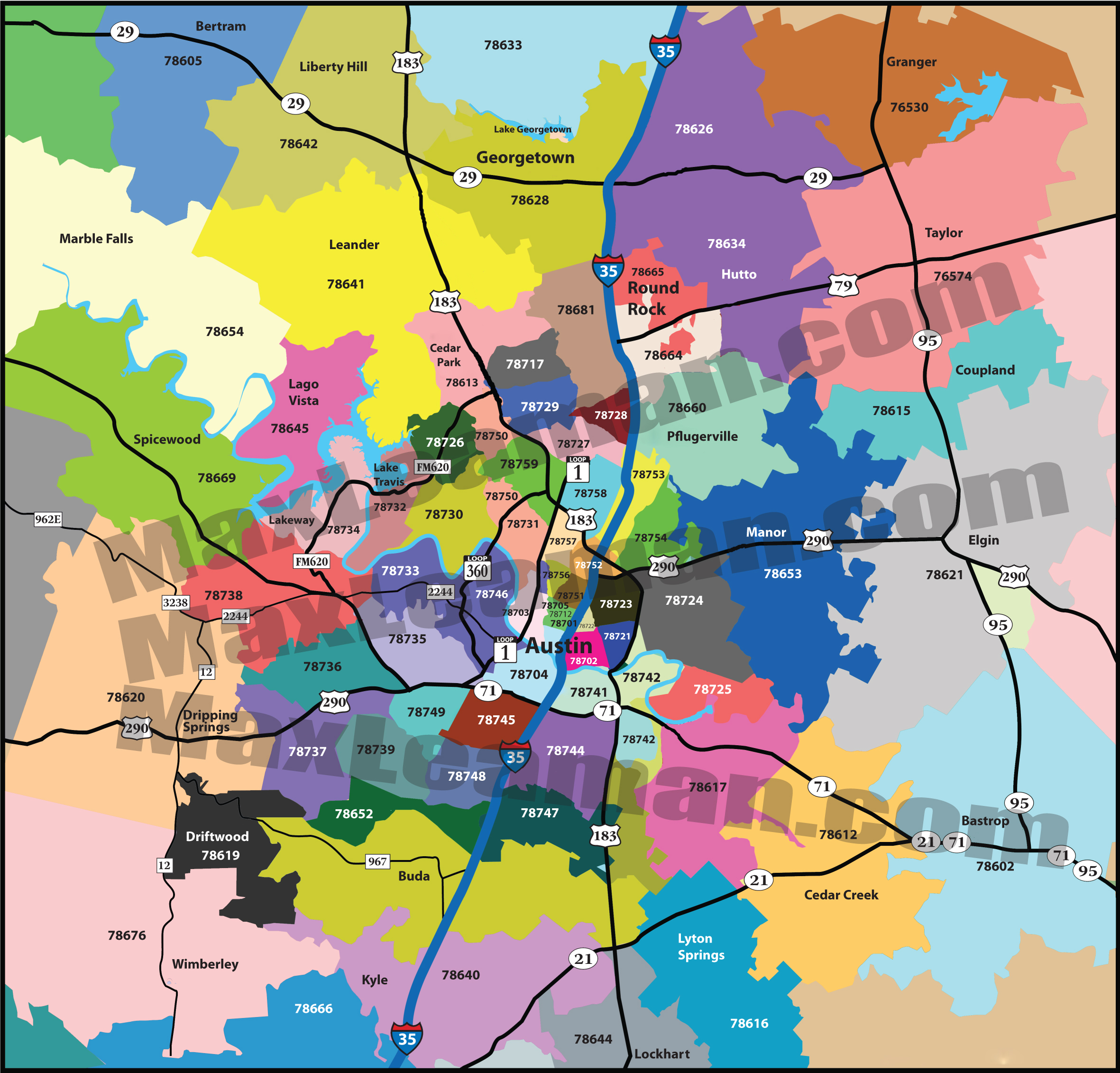 Zip Code Map Of Austin  Zip Code Map